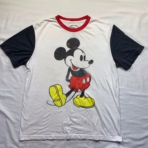Disney Mickey Mouse Ringer T Shirt Distressed